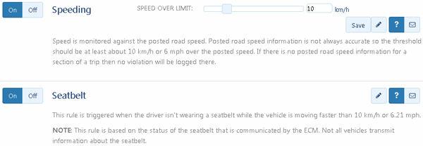 fleet management speeding seatbelt exceptions