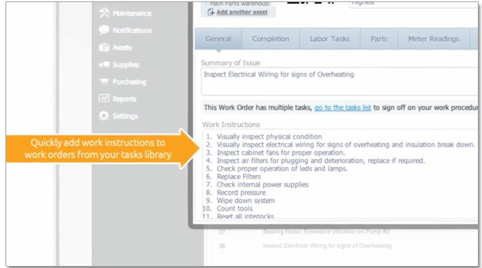 CMMS create work orders easily add instructions