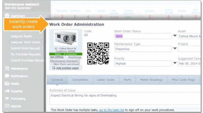 CMMS create work orders